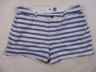 Old Navy Women's Cotton Shorts Blue White Striped Sz 6 Summer Casual CB50S