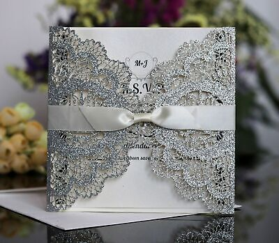 Silver Personalised Laser Cut Wedding Day Evening Invitation Card & Envelopes