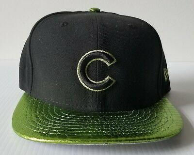 New Era Chicago Cubs 59FIFTY 5950 Black Hat Lime Metallic Visor MLB Cap 7 1/8
