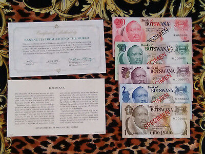 BOTSWANA COMPLETE 5 SPECIMEN SET 1979 w/COA  000600 CS1 P1-5 GEM UNC FANCY