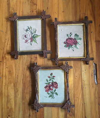 Set of 3 Antique Floral Needlepoints in Wooden Adirondack Criss Cross Frames