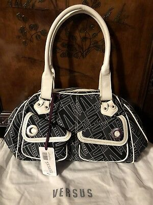 Versus Versace Monogrammed Black White Print Patent Leather Trim Bag New e79e27cd26467