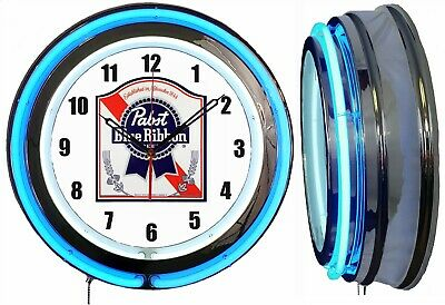"""19"""" Double Neon Clock Pabst Blue Ribbon PBR Beer Chrome or Carbon Fiber Finish"""