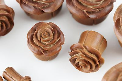 Carved Wood Rose Plugs - Rose Plugs for Stretched Ears - PA61