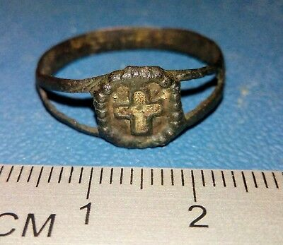 Old brass religious ring of the 19th century