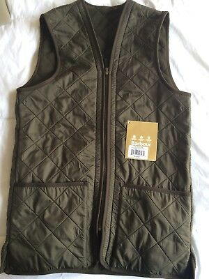 Barbour Men's Polarquilt Waistcoat/Zip-in Liner for Jacket Vest Size Small Olive