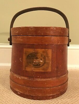 Antique Firkin Sugar Bucket 19th c. Currier & Ives Wood American Winter Scen