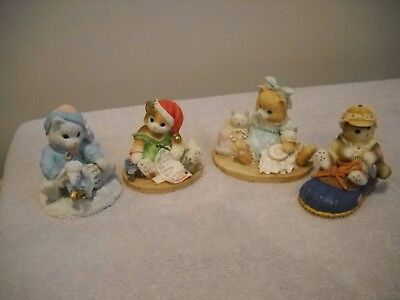 4 Enesco Calico Kittens by Priscilla Hillman Cat Figurines