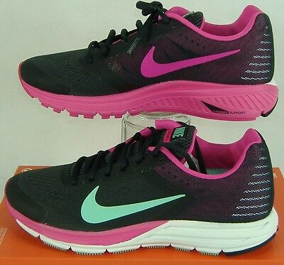New Womens 11.5 NIKE Zoom Structure 17 Charcoal Pink Run Shoes $115 615588-036
