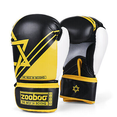 Boxing Sparring Training Gloves 10Oz Muay Thai Kickboxing Punching Mitts, Yellow