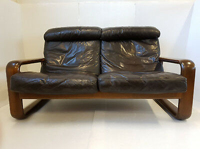 "Sofa ""hombre"" Burkhard Vogtherr Rosenthal Leather 1970 Vintage 2 Places 70's"