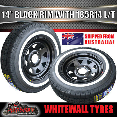 14 X 6 185 LT Sunraysia Black Rim & Whitewall Tyre suits Ford. Trailer Caravan