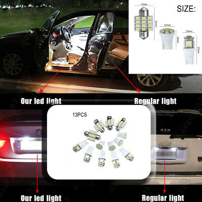 13x White LED Light Interior Package T10&31mm Festoon Map Dome License Plate