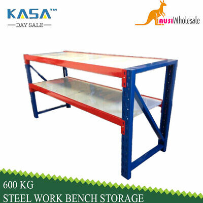 Warehouse Garage 600 KG Heavy Duty Steel Work Bench Storage Racking Work Factory