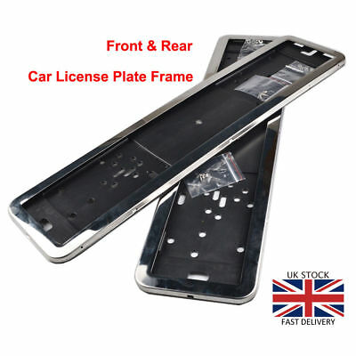 2x Silver License Number Plate Frame Surrounds Holder 100% Stainless Steel EU UK