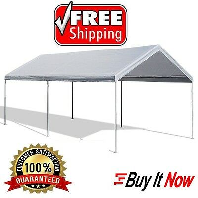 Canopy Garage Top Frame 10 x 20 Big Tent Portable Parking Carport Car Shelter  sc 1 st  PicClick & STEEL FRAME Canopy Shelter Portable Car Carport Garage Cover Party ...