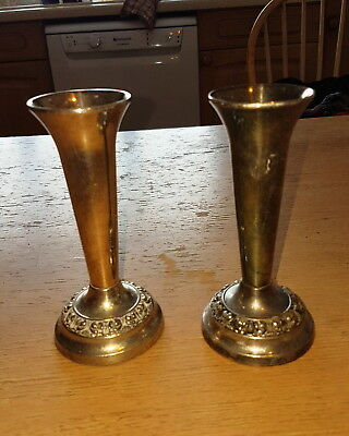 Pair of Vintage Silver Plated Bud Vases By Ianthe c.1960's