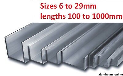 ALUMINIUM CHANNEL U  PROFILE 6mm 10mm 13mm 16mm 19mm 22mm 25mm 29mm select size