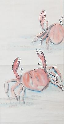 Asian Hanging Scroll Painting - Two Red Crabs On Beach - Signed - Summer Decor