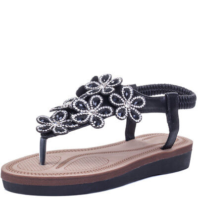 6a8c54aadce544 WOMENS TOE POST Sling Back Flower Fashion Flat Diamante Flip Flop ...