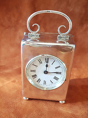 Antique Frence Carriage Clock Solid Silver Enamel Dial