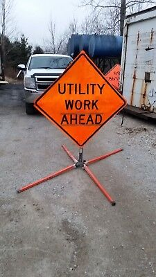 """UTILITY WORK AHEAD Folding Road Construction Sign & Extendable Base 36"""" X 36"""""""