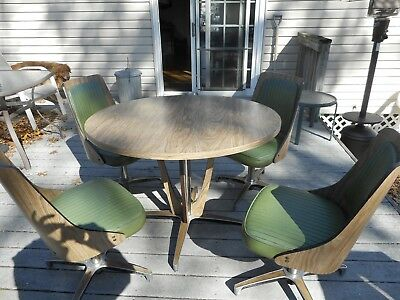 22700c0b11e55 Vintage Mid Century Modern Chromcraft Dinette Set Dining Table   4 Swivel  Chairs