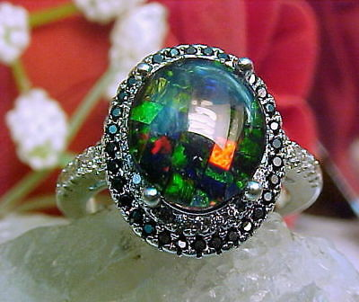 Aussy Mosaic Opal Triplet 10mm Round & Black Sapphire & White Topaz Ring 925 SS