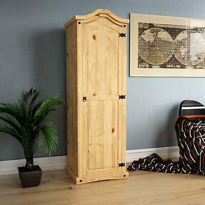 Corona 1 Door Wardrobe Solid Pine Wood Mexican Bedroom Furniture Storage Arc Top