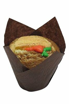(100 Ct.) Large Brown Tulip Cupcake Liners Muffin Baking cups, Free Shipping