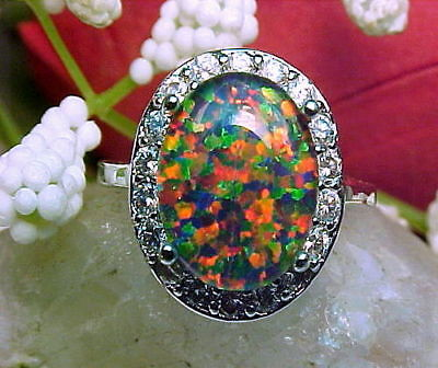 Gilson Lab Created Black Opal Triplet Ring Large 12x10mm & White Topaz 925 SS