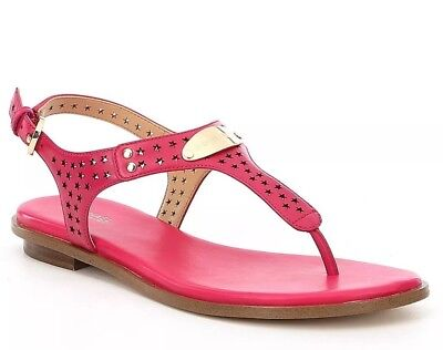 25610828513 NIB SIZE 9.5 Michael Kors MK Plate Thong Sandals Ultra Pink Leather ...