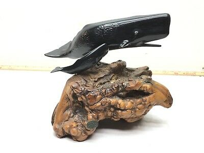 Vintage SPERM WHALE with Baby Figural STATUE JOHN PERRY STUDIOS Resin Burl Wood