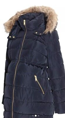 H&M Mama Maternity Womens XL Quilted Jacket Coat Parka Fur Hood Large Puffer H M