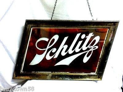 Schlitz beer sign 1958 form 518 light old vintage lighted rog reverse glass bb9