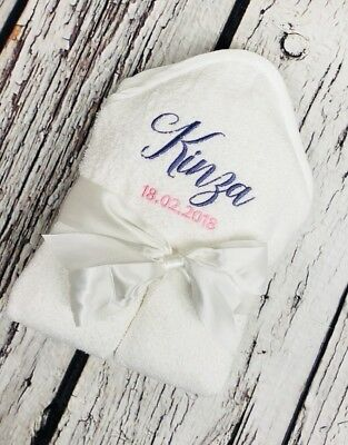 Personalised White Baby Hooded Towel Boys Girls New Keepsake Bath Gift Birthdate