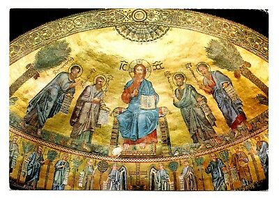 Rome Italy Postcard Basilica di S Paolo St Paul's Mosaic of the Apse Dome Art