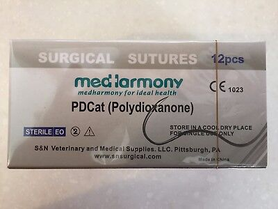 4 boxes of Veterinary Suture, PDO 2-0 45cm 24mm 3/8 rev cutting 12/bx PDCat