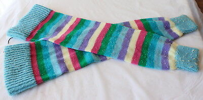 Vintage 1980's Knitted LEG WARMERS Blue Pink White Striped