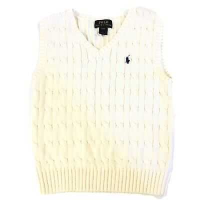 Polo Ralph Lauren Ivory Cable-Knit Cotton Sweater Vest Boys Size 4/4T V Neck