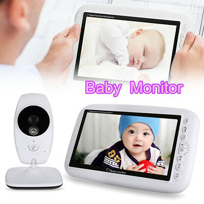 7'' 2.4GHz Wireless Infant Baby Monitor LCD Night Vision Temp Audio IP Camera