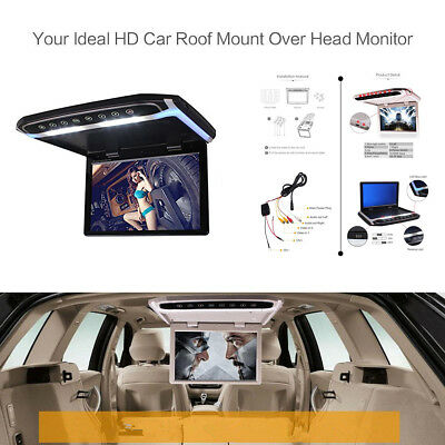 Car Roof Overhead Flip Down LED Monitor SD USB HDMI Video Media Player 12.1 Inch