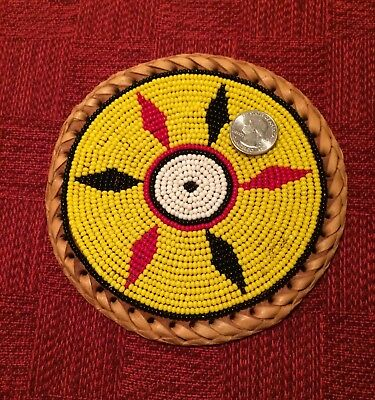"""Very Large Seed Beaded Medallion Plaque 6"""" Ethnic Tribal Piece"""