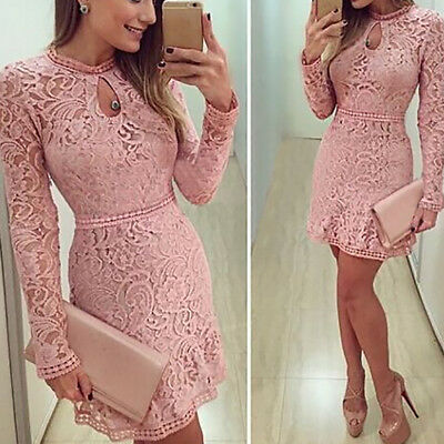 Women's Lady Summer Lace Long Sleeve Party Evening Cocktail Short Mini Dr Dsxy