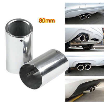 for Audi A3 11-14 Rear Muffler 80mm Stainless Steel Exhaust Tailpipes Tip Silver