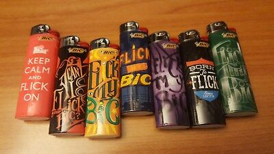"""Lot Of 7 Bic Lighters """"flic My Bic"""" Design Collection - New"""