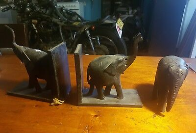 1960's Tanzanian Vintage 3 Wooden Carved Elephant Book End