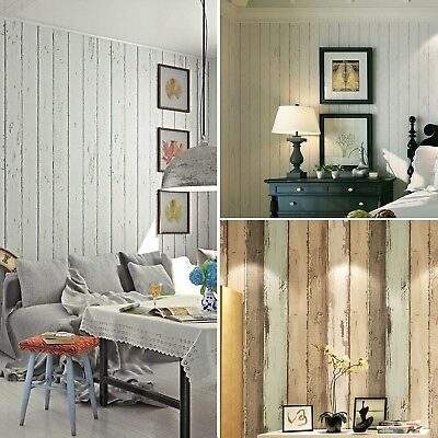 10M 3D Rustic Wood Plank Panelling Stripe Textured Wallpaper Roll Home Decor AU