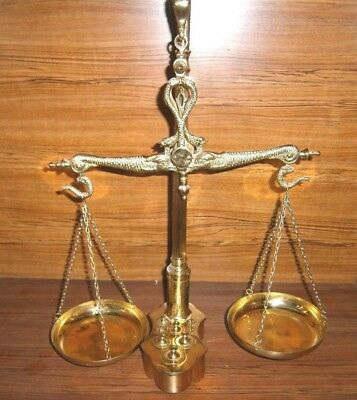 Vintage Brass Hanging Balance Scales-Weights-Serpent / Snake Head-Justice Scales