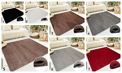 New Shaggy Rug in Plain Pattern Soft Touch Carpet Small Extra Large for Bedroom
